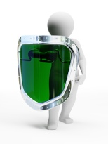 3d abstract security person with green shield